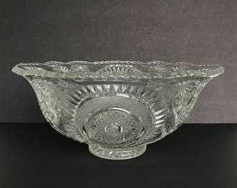 US Glass or LE Smith Punch Bowl Slewed Horseshoe Pattern or Pinwheel & Stars Pressed Glass I Don't Know