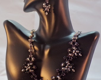 Beaded Lacy silver and bronze necklace and earrings