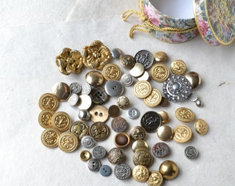 Vintage Brass and Metal Button Lot - 62 Buttons