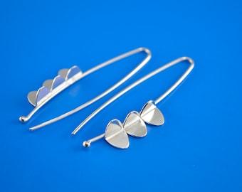 Sterling Silver Earrings, Long Wing Earrings, Contemporary Design