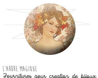 Cabochon fancy 25 mm woman Art AlfredMucha ref 1160 b.