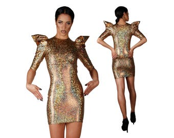 Short Gold Dress, Holographic Clothing, Tight Sexy Dress, Futuristic Clothing, Short Bodycon Dress, Sci Fi Clothing, EDM Wear, LENA QUIST