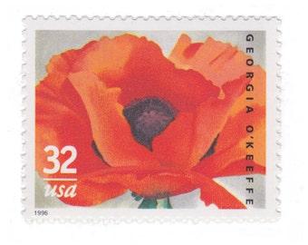 5 Unused US Postage Stamps - 1996 32c Georgia O'Keeffe Poppies - Item No. 3069 - Vintage Postage Shop