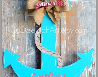 Anchor Door Decor Wood Art Anchor Anchor Door Hanger Anchor Wall Art Anchor Wall Hanging Personalized Anchor Nautical Decor Nautical  sc 1 st  Etsy & Anchor door decor | Etsy