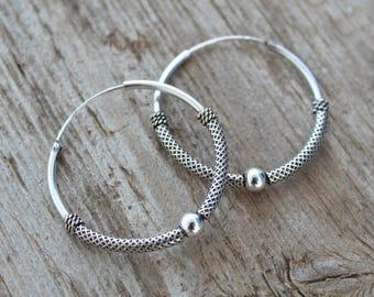 Sterling silver hoop earrings. 35mm hoop earrings. Bali hoop earrings. Oxidiced sterling silver earrings. Tribal hoop earrings.
