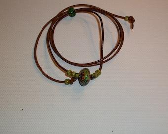 Mood Bead Choker Necklace On Brown Leather