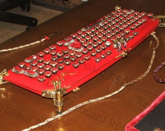"The exclusive : RED Steampunk Keyboard  ""LaFerri """
