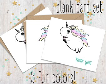 Unicorn Thank you Folded Cards - Set of 5 - Birthday Thank you - Cute Greeting Card Set - Unicorn Greetings - Wedding - FourLetterWordCards
