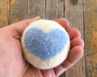 Baby Blue Heart, Felted Wool Toy Ball or Sculpture , Mini