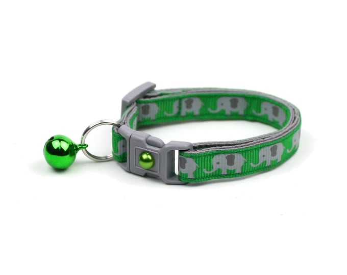 Elephant Cat Collar - Elephants on Green - Small Cat / Kitten Size or Large Size