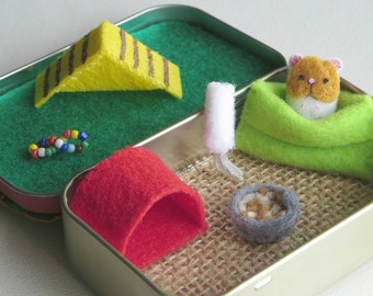 Hamster miniature felt stuffed animal plush in  Altoid tin playset - snuggle bag ramp house play food