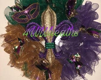 Spiral Mardi Gras Wreath, Mardi Gras, Wreath, New Orleans, Carnival, Louisiana, Fleur di lis
