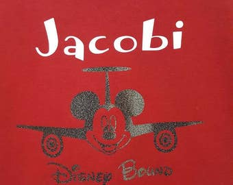 Disney bound, Disney vacation, Disney airplane, Disney shirt customized with name. Many colors to choose from.