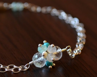 Crystal Quartz Bracelet, Gemstone Jewelry, Sterling Silver, Turquoise, Freshwater Pearl, Moonstone, Chalcedony Cluster, Free Shipping