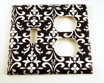 Wall Decor Light Switch Cover Combo Light Switchplate  in  Black Damask (179C)