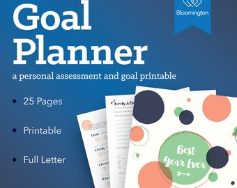 2018 Goal Planner / Yearly Planner / Goal Journal / Printable Goal Organizer / To Do List / Monthly Planner / 25 Pages // Instant Download