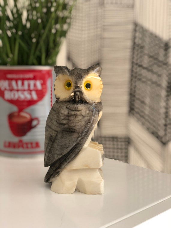 Handcarved owl figurine / bookend / Italian alabaster / hand painted / shelfie/heavy alabaster / made in Italy