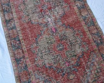 "8'9""x3'1"" Deep Red Gray and Brown Vintage Turkish Oushak Runner Rug"