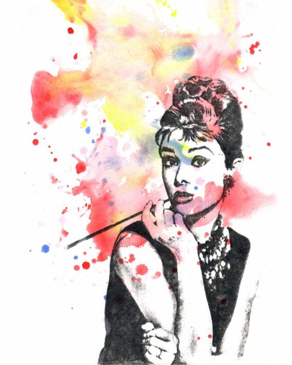 Audrey Hepburn Painting Art Print From Original Watercolor