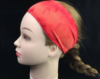 Orange Tie Dye Boho Running Headband, Workout Headband, Fitness Wide Headband, Boho Headband, Fitness Headband,Head Wrap, Headband, Workout
