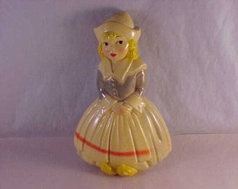 Dutch Girl Painted Plaster Wall Hanging