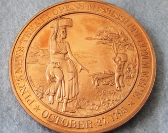Franklin Mint Solid Bronze coin  Pinckney's Treaty Opens Mississippi Commerce -1795 - Add to your collection or start a new collection!