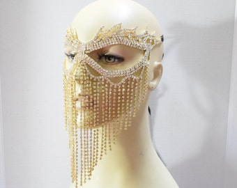 Gold Rhinestone Masquerade Face Mask ,Sparkling Face Mask, Mardi Gras mask,Wedding mask, New Years Eve