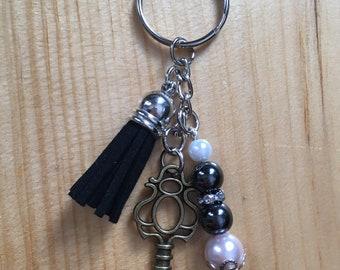 Black Tassel Keychain with Skeleton Key, Beaded Key Ring, Mixed Metal, Hematite Healing Beads for Balancing & Grounding, Gift for her