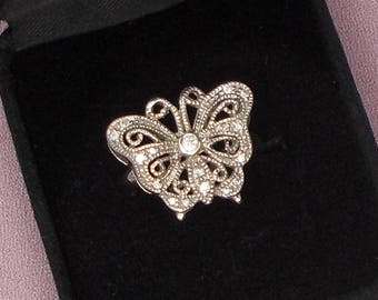 Ornate Sterling Silver and Crystal Butterfly Size 9 Ring  2868