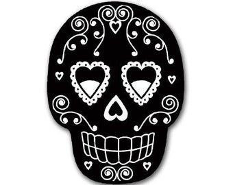 Black Sugar Skull Sticker (Day Dead Dia Muertos)