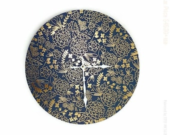 Kitchen Wall Clock, Blue and Gold Floral Zero Waste Home Decor and Wall Art
