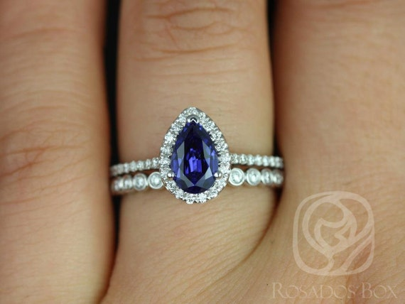 Rosados Box Tabitha 8x5mm & Petite Bubbles 14kt White Gold Pear Blue Sapphire and Diamonds Halo Wedding Set