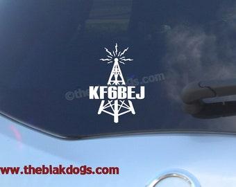 Ham Radio Call Sign plus Tower Vinyl Sticker - personalized Car Decal