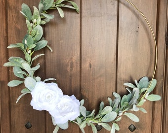 White rose and lambs ear hoop wreath w cotton stem detail