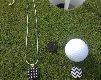 Golf Gift for Women - Golfing Jewelry - 3 Golf Flat Ball Markers & 1 Necklace - Black • Chervon • Dots - Mark Putts on the Green - Magnetic
