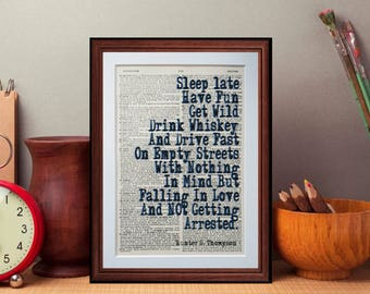 Hunter Thompson quote  - dictionary page art print home decor present gift Gonzo