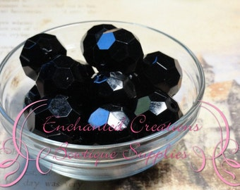 22mm Solid Black Faceted Acrylic Beads 8pcs