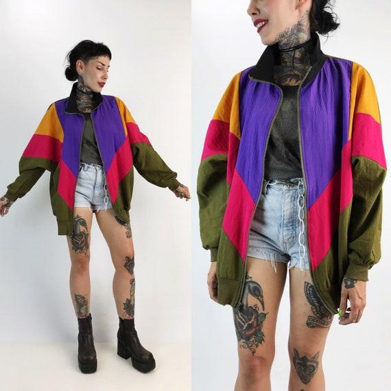 90's Colorblock Windbreaker Jacket Large - Colorful VTG Womens Windbreaker Unlined Zip Up Single Layer Windbreaker Sporty Fall Track Jacket