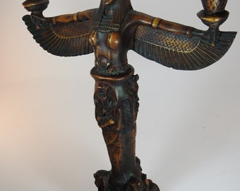 Mahogany freestanding Egyptian goddess Isis