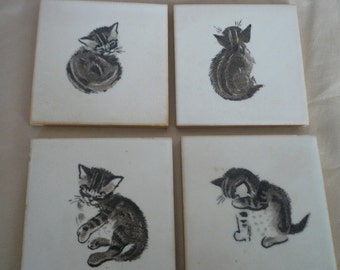 Rare vintage Minton ceramic tiles, set of 4, cat design