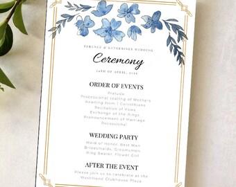 Wedding Event Program Indigo Deco Stationary