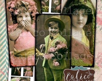 Printable, Domino Images, 1x2 Collage Sheet, Child of Mine, Children Ephemera, Victorian Children, Child Ephemera, Vintage Printable