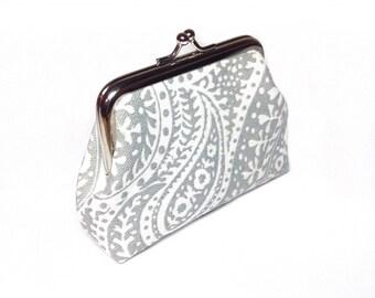 Grey paisley print canvas coin purse