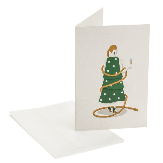 CHRISTMAS TREE. Funny holiday card. Lady proposing a toast. Hostess present. For girlfriend, sister, mother, colleague