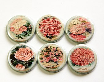 Floral magnets, Floral, Magnets, Flower Magnets, button magnets, Locker Magnets, Kitchen Magnets, stocking stuffer, green, pink (4647)