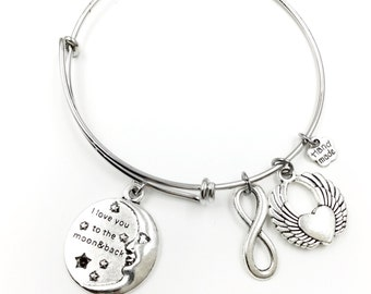 Moon I love you to the moon & back Infinity Heart Wings Adjustable Wire Bangle Bracelet 2 Loops Wrapped with Charms Silver Tone