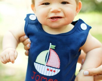 Baby boy beach outfit, baby boy bubble, boys monogrammed beach outfit, boy sailboat outfit, newborn coming home outfit, baby boy gift