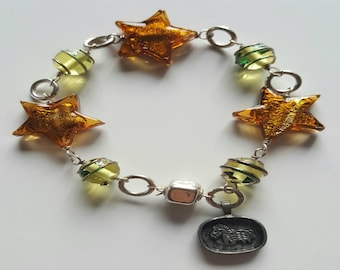 Brown Murano Silver Foil Bead and Green Lamp Work Beaded Bracelet with Sterling Slver