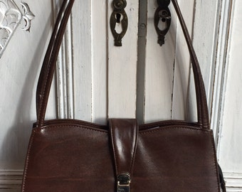 Vintage Kelly Bag, Faux Brown Leather 1960s/70s