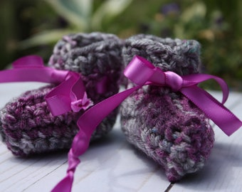 Purple Gray Preemie Booties - Crochet Preemie Booties  - Variegated Baby Booties